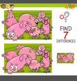 find differences with pigs farm animal characters vector image vector image