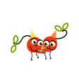 flat cherry making selfie fruit party vector image vector image