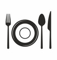 Fork knife spoon and plate icon
