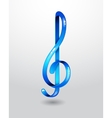 Glass blue treble clef vector image vector image
