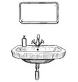 hand drawing of sink and mirror in bathroom vector image