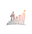 hand drawn businessman climbing stairs to the top vector image