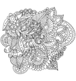 Hand drawn zentangle flowers and leaves for adult vector image