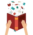 hand with open book design vector image vector image