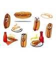 Hotdog cartoon characters and symbols vector image vector image