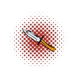 Hunting knife comics icon vector image vector image