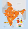india map and icons with people in traditional vector image