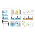 infographics and tables on whiteboard presentation vector image vector image