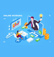isometric freelancer or outsource worker office vector image vector image