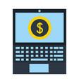 laptop computer dollar coin money vector image vector image