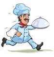 Male chef carries finished dish on platter vector image vector image