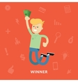 Man rejoices win with money in hands vector image