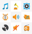 music flat icons set collection of portfolio vector image vector image