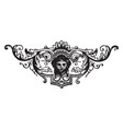 ornate tailpiece have a face in it center vintage vector image vector image