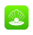 pearl in a sea shell icon digital green vector image vector image