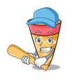 Playing baseball ice cream tone character cartoon