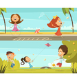 Playing Kids Banners Set vector image