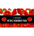 remembrance day 11 november poppy banner vector image vector image