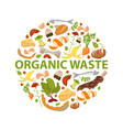 round template organic waste theme collection of vector image