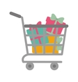 shopping cart online boxes gift presents vector image vector image
