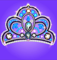 tiara crown womens wedding with a blue vector image vector image