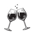 two sparkling glasses wine or champagne vector image vector image