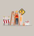 under construction page man woman worker on vector image