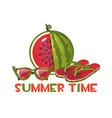 watermelon print sunglasses and beach flip flops vector image vector image