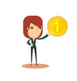 woman holds in his hand a gold coin vector image