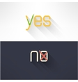 Yes and no button checkmark in modern flat design vector image