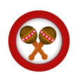 red circle with pair of maracas vector image