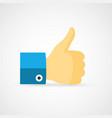 thumb up flat like icon vector image