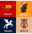 Greece culture history and mythology icons vector image