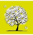 Art tree with camomiles for your design vector image vector image