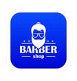 barber shop icon blue