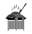 Barcode pasta Dish with spaghetti and fork Hot vector image vector image