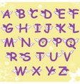 Cartoon comic doodle font alphabet with wings vector image