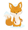 cartoon fox sits in the snow stylized cute fox in vector image vector image