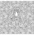 coloring book ornamental alphabet letter a font vector image