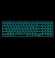 computer keyboard with neon backlight on black vector image vector image