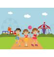 cute children at amusement park summer landscape vector image