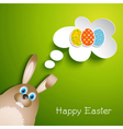 Cute Easter background with rabbit vector image vector image