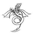 dragon drawn in engraving style isolated on white vector image vector image