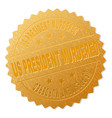 golden us president murdered badge stamp vector image