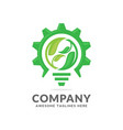 green leaf and gear symbol vector image vector image
