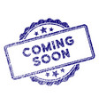 grunge textured coming soon stamp seal vector image