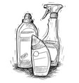 hand drawing of set of house cleaning products vector image vector image