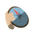 hand holding compass direction travel maritime vector image