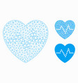heart pulse mesh wire frame model vector image vector image