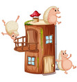 hedgehog playing at wooden house vector image